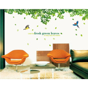 Green Leaves Birds Wall Sticker Paper Home Decal Removable Wall Vinyl Living Room Bedroom PVC Art Picture Murals Waterproof DIY Stick for Adults Teems Childres Kids Nursery Baby