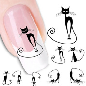 LHWY Cat Water Transfer Slide Decal Sticker Nail Art Tips To Decor XF1442