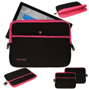TECHGEAR® [SENTINEL PRO Sleeve (13)] - Slim Neoprene Zipped Protective Sleeve Case Cover with Anti-Shock Bubble Interior for Microsoft Surface Pro 4, Surface Pro 3 [PINK]