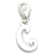 Letter C Initial sterling silver charm on 9mm clip .925 x1 IDBU0001C--09LS