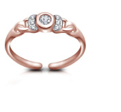 Vorra Fashion 14K Rose Gold over .925 Silver White CZ Channel - Set Solitaire Toe Ring