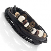 Vintage Earth Brown and Blond Beaded Bracelet - Black Genuine Leather Snap Cuff Bracelet
