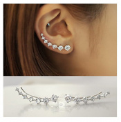 Elensan1 7 Crystals Ear Cuffs Hoop Climber S925 Sterling Silver Earrings Hypoallergenic Earring