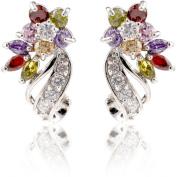 YAZILIND Dazzling Rhodium Plated Colourful Cut Flawless Cubic Zirconia Twisted Flower Claw Stud Earrings