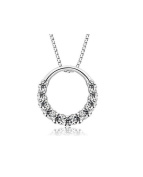 Designer Inspired Simulated Diamond Open Ring Pendant Necklace Silver 925 Italy Stamped