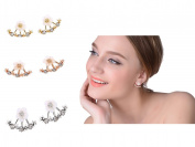 Butterme 3 Pairs Cute Little Daisy Flower Crystal 925 Silver Needle After Hanging Ear Stud Earrings For Women Lady Girls