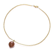 Amanti Venezia Murano Gold Plated Dusky Pink Pendant with Gold Conterie Beads of Length 44 cm