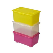 GLIS Box with lid 3 pice, pink/white, yellow