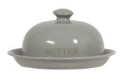 novastyl 8012577.0 Butter Dish Stoneware Duck Egg Grey Diameter 17 cm