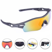 Carfia TR90 Polarised Sports Sunglasses Outdoor Cycling Glasses Ski Goggles with 5 Exchangeable Lens for Mens Womens Driving Baseball Running Skiing Snowboarding