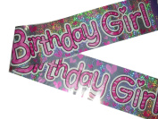 Birthday Girl Foil Party Banner 2.7m Long Pink & Sliver Girl Bunting
