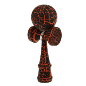 Wooden Crack Paint Kendama Toy Kids Ball Games Black & Orange
