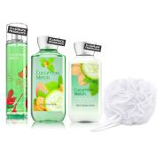 4pc SET - Bath & Body Works Cucumber Melon Fragrance Mist, Body Lotion, Shower Gel & White Netted Body Sponge/Loofah