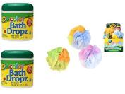 2 Colour Bath Dropz and 1 Colour Changing Mesh Sponge