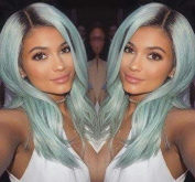 kylie Jenner Heat Resistant Fibre Hair mermaid ombre black to blue body wave Synthetic lace front wig for women.