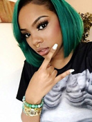 kylie Jenner Heat Resistant Fibre Hair mermaid ombre black to green short bob Synthetic lace front wig for women.