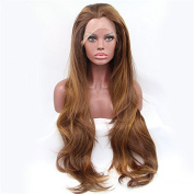 Natural brown synthetic lace front wig for women straight wave hair wigs heat resistant fibre women wig hand tied wig 60cm.
