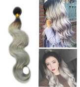 BeautyMiss 300g Per Set 30cm - 70cm 100% Human Remy Hair Weave 1B/Silver Grey Two Tone OMBRE Human Hair Extensions Body Wave Hair 3 Pieces