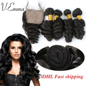 V-Emma 7A Grade Unprocessed Loose Wave Brazilian Virgin Hair 4x4 Middle part silk Closure With Human Hair Bundles 4Pcs Brazilian Loose Wave With Closure 10x10x10x10+10