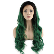 Mxangel Long Wavy Lace Front Synthetic Hair Black Root Green Ombre Quality Cosplay Party Wig