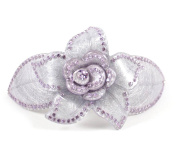 CHRYSE LARGE FLOWER RHINESTONE CRYSTAL HAIR CLAMP CLIP BARRETTE C731P PURPLE