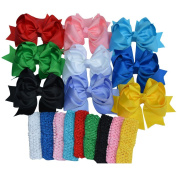 Bzybel Little Girl's 19cm Boutique Spike Big Hair Bow Clips Grosgrain Ribbon Alligator Clips Headwear with Free Crochet Headbands for Baby Shower Gift