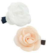 Girls' Rose Fashion Hair Clip (Pink & White, 2PC Set) | Elegant, All-Purpose Alligator Beauty Clip | Imported from Korea and Hand-Assembled