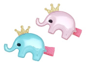 Girls' Crown Elephant Fashion Hair Clips (Glossy Blue & Pink, 2PC Set) | Incredibly Cute, All-Purpose Alligator Beauty Clip | Imported from Korea and Hand-Assembled