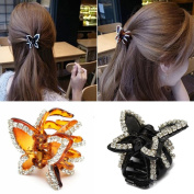 Polytree Women's Butterfly Rhinestone Claw Hairpin Hair Clip 2Pc