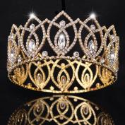 FUMUD Pageant Full Circle Tiara Clear Austrian Rhinestones King / Queen Crown Costume Party Tiara 7.1cm