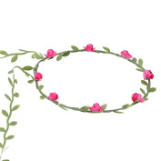 Bohemian Style Rose Red Floral Garland Headband Hairband Headwear for Wedding Party