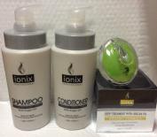 ISO Beauty Ionix Argan Oil Shampoo 1000 ml, Conditioner 1000 ml, Deep Hair Treatment with Argan Oil 500ml And AJ shampoo Brush bundle