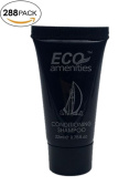ECO AMENITIES Black Tube Flip Cap Individually Wrapped 22ml Shampoo & Conditioner 2 in 1, 288 Tubes per Case