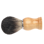 Dophee 1Pc Natural Solid Beech Wood Handle Badger Hair Shaving Brush Barber Kit Father Gift