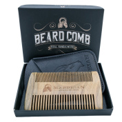 Beard Comb Fine & Coarse tooth, in PU Leather Case With a Gift Box. Handmade Sandalwood Comb with Awesome Scent for Beardsmens' Grooming. Works great with Beard Oil and Balms. Order yours!