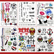 GIFT!!Tastto 6 Sheets Bright Colourful Hand Drawn Body Paints Temporary Tattoos Remix Stickers Set for all Ages with GIFT