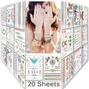 Lady Up Mix Style 20 sheet 150+ designs Body art Temporary Tattoos paper,Premium Metallic Flash Gold Silver and Multi-Coloured Waterproof Tattoo for women kids or men 21X15cm/p