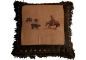 HiEnd Accents Western Embroidered Cutting Horse Pillow