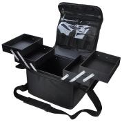 Travel Size 210D Black Soft Sided Makeup Train Bag Artist Cosmetic Case Brush Organiser Box