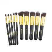 Dermatique Gold Makeup Brush Set, Beauty Blending, Face Powder, Blush Brushes Perfect for Use as Bronzer Brush, Concealer Brush, Contour Brush, Cosmetic Brush, Foundation Brush, etc.