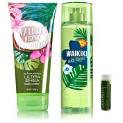 Bath & Body Works Waikiki Beach Coconut Ultra Shea Body Cream 8 oz/226g & Body Mist 8 fl.oz/236 mL with a Jarosa Bee Organic Peppermint Lip Balm
