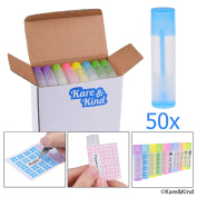 Lip Balm Container Tubes - 50-Pack (10x5 colours) - DIY - 3/16 Oz (5.5 ml) - Including 50 Writeable (10x5 colours) & 50 Printed Lip Balm Stickers - Twist Mechanism and a Cap - Empty - Make Lip Balm