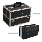 Makeup Train Case - Large Professional 43cm Organiser (Black Dot), 4 Trays, Adjustable Dividers, Shoulder Strap, Lock/Key with Travel Carry-On Bag