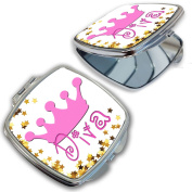 BleuReign(TM) Cute Pink Diva with Crown Compact Mirror