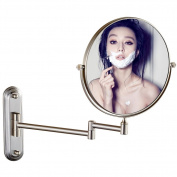 GuRun Two-Sided Swivel Wall Mount Makeup Mirror Bathroom Mirrors With 5X Magnification Nickel Finish M1206