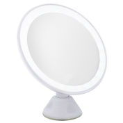 Naimo Swivel Suction Cup USB Charge LED Makeup Mirror 5X Magnification, 360 Degree Rotation , White