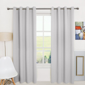 Aquazolax Plain Top Eyelet Thermal Insulated Blackout Panel Curtains for Gallery, 1 Pair, 130cm x 240cm Inch, Greyish White