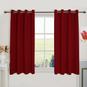 Aquazolax Premium Solid Thermal Insulated Grommet Top Blackout Curtain Drapes for Kitchen