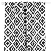 Black Diamond Tile Print Blackout Window Drapery Panels - Two 210cm by 110cm Panels