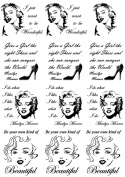 Marilyn Monroe 2.5cm - 0.3cm - Black 16CC679 Fused Glass Decals